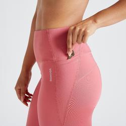 Mallas Legings Cardio Fitness Domyos 500 FTI efecto vientre plano mujer coral