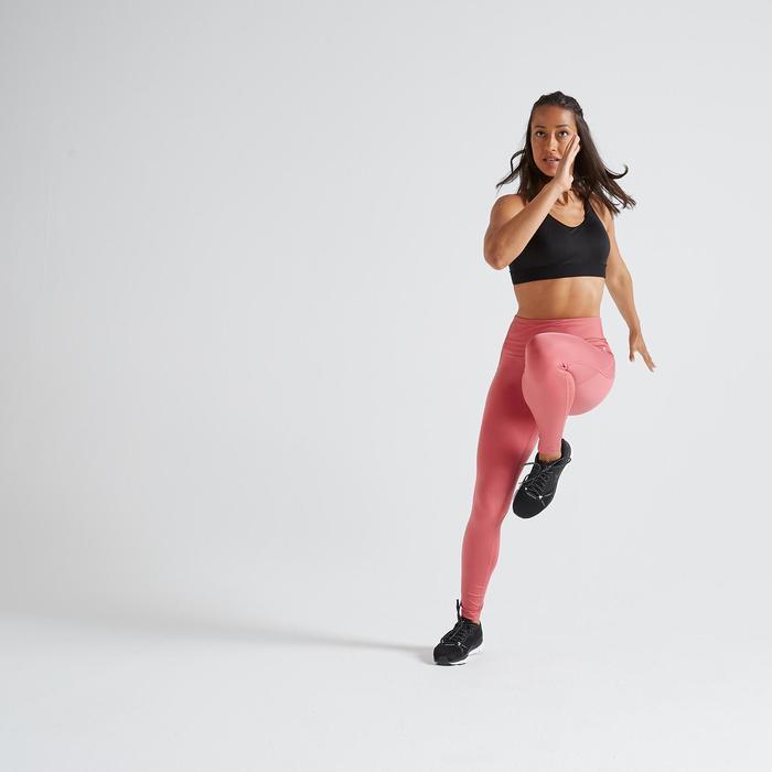 Legging fitness cardio training femme vieux rose 500