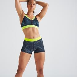 Pantalón corto Short Deportivo Fitness Cardio Domyos 500 mujer azul amarillo