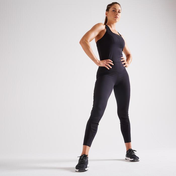 Combinaison fitness cardio training femme noire 900