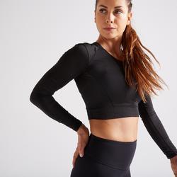 T-shirt Crop top manches longues Fitness noir