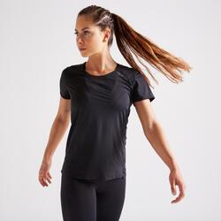 Camiseta manga corta Cardio Fitness Domyos FTS 900 mujer negro