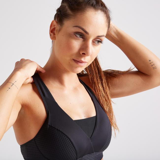 Women's High-Support Fitness Sports Bra - Black