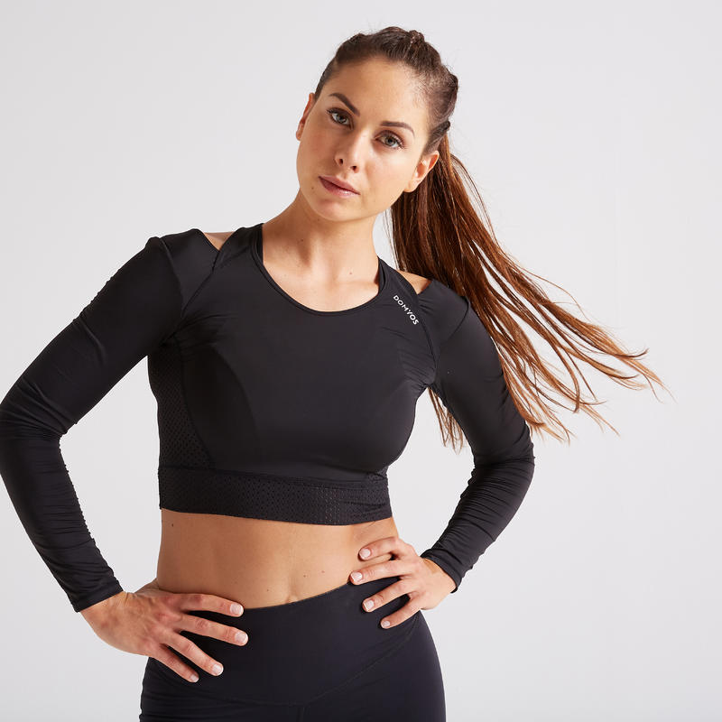 5a9502eea All Sports>Fitness Cardio>Fitness Cardio Clothes>Women Clothes>Fitness  Tee-Shirts>900 Women's Fitness Cardio Training Crop Top - Black