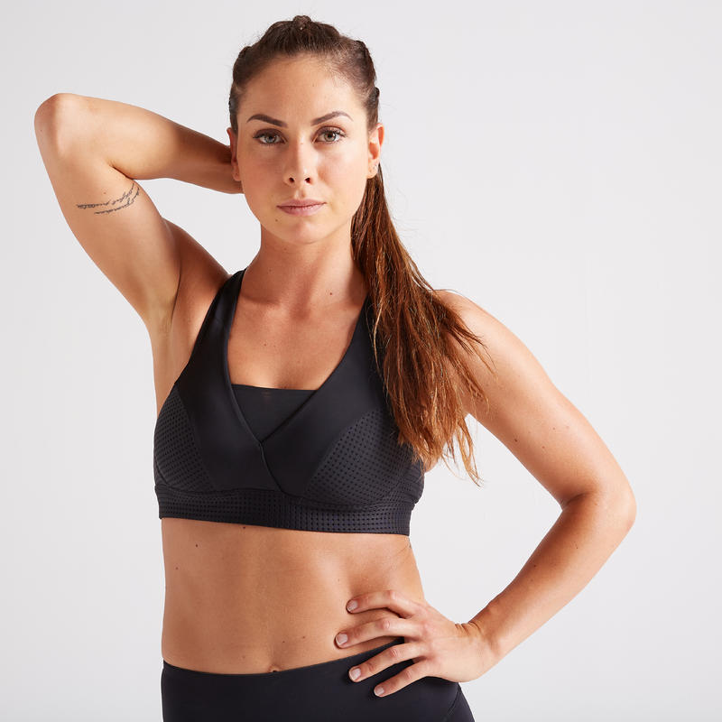 Sujetador-top cardio fitness mujer negro 900