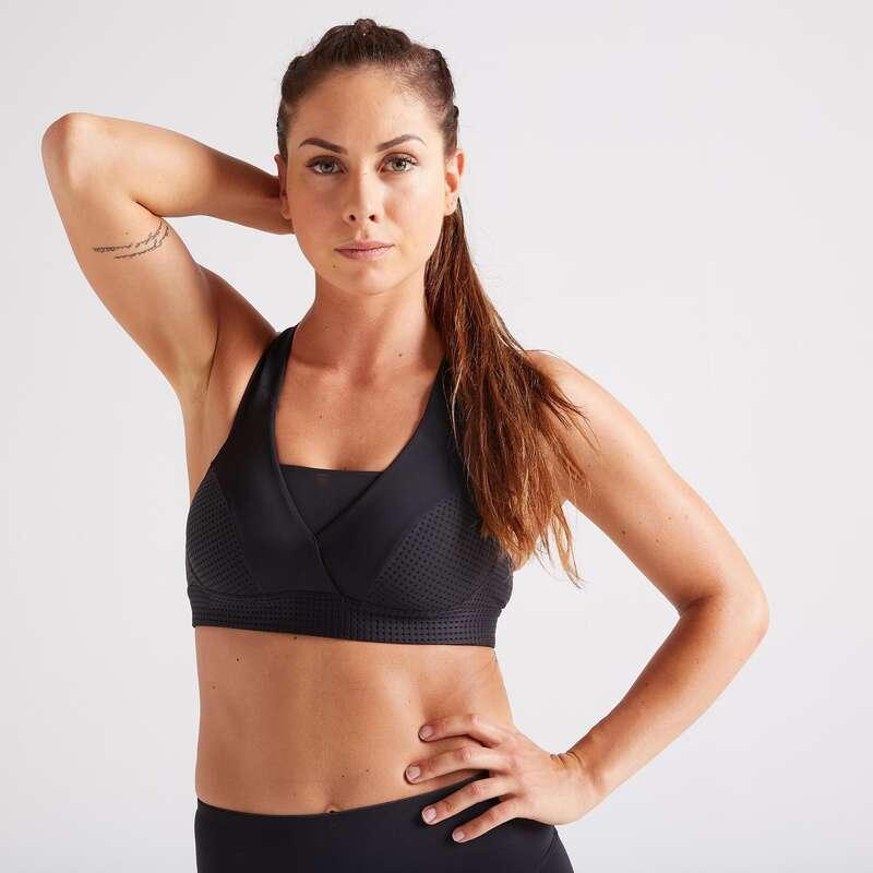 WOMAN FITNESS BRA, UNDERWEAR Fitness and Gym - FBRA 900 Black Sports Bra DOMYOS - Gym Activewear