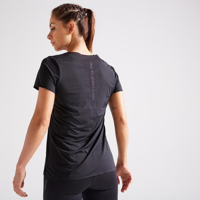 T-shirt fitness cardio training femme noir 900