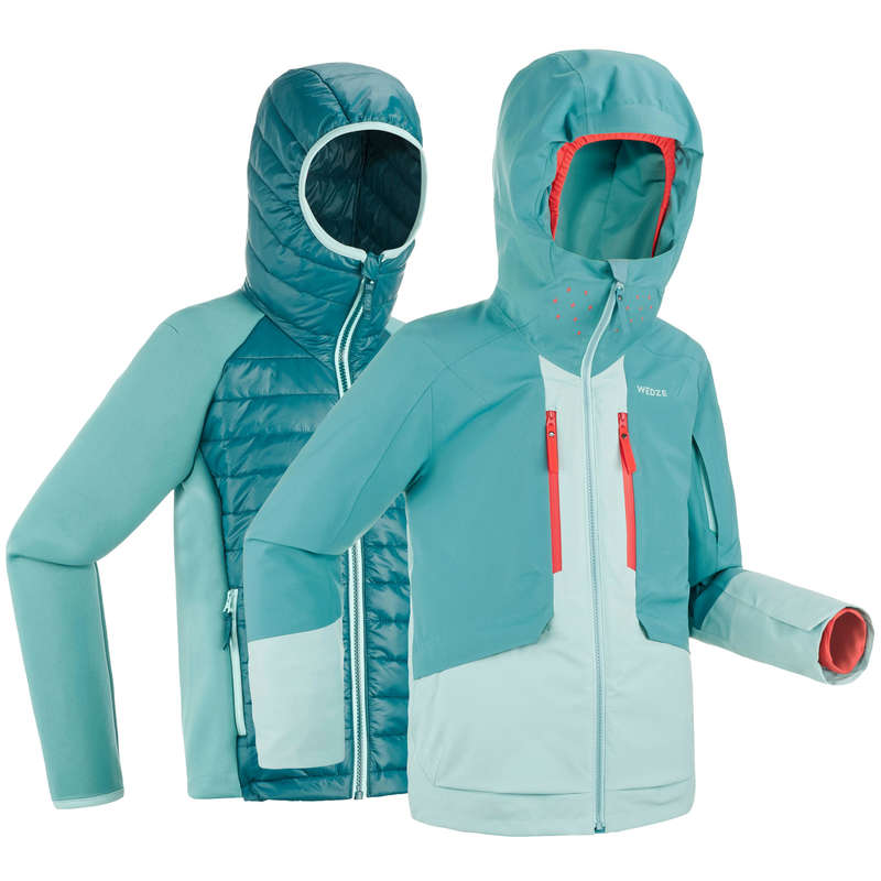CHILDREN'S FREERIDE SKIIG CLOTHING Vintersport - JACKA 3/1 FREE 900 JUNIOR GRÖN WEDZE - Snowboardkläder