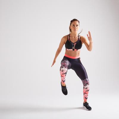 Top Sujetador deportivo training Domyos FBRA 900 cremallera mujer negro rosa