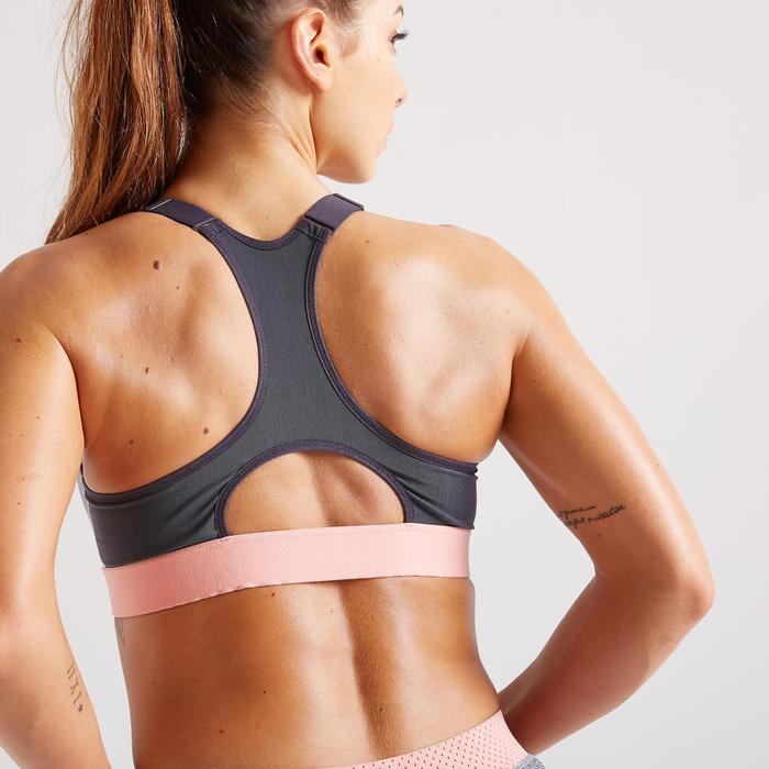 Sportbeha met rits voor cardiofitness 900 grijs met print