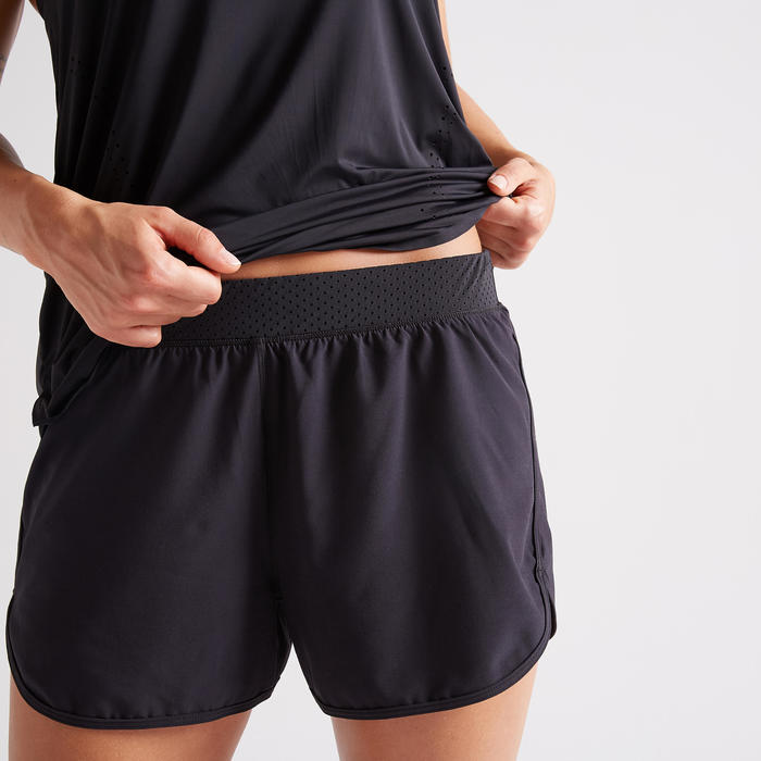 Short 2 en 1 Fitness anti frottement cuisses noir