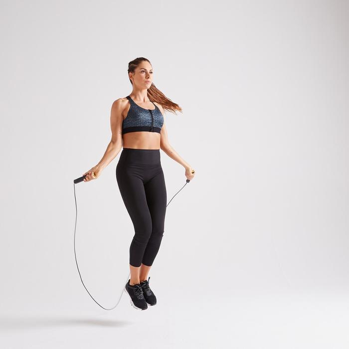 900 Women's Zip-Up Fitness Cardio Training Sports Bra - Mottled Grey
