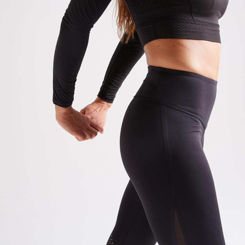 กางเกงเลกกิ้งผู้หญิงสำหรับการออกกำลังกายแบบคาร์ดิโอรุ่น 900 (สีดำ)