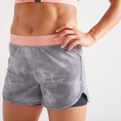 Pantalón corto Short Deportivo 2 en 1 fitness cardio Domyos 900 mujer gris coral