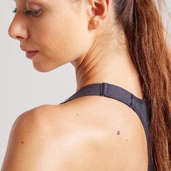 Sportbeha voor cardiofitness 900 rits grijs met print
