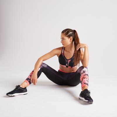 Sujetador-top Power fitness cardio-training mujer negro 900
