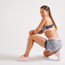 Short 2 en 1 fitness cardio-training mujer estampado 900