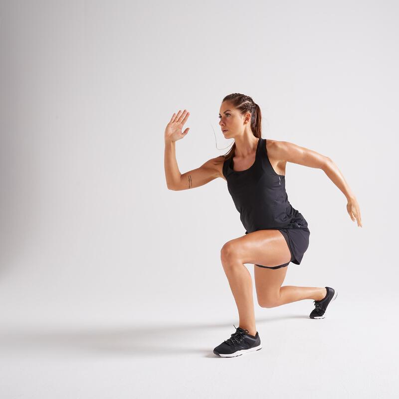 กางเกงขาสั้นแบบ 2-in-1 สำหรับผู้หญิงใส่ออกกำลังกายแบบคาร์ดิโอรุ่น 900 (สีดำ)