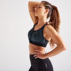 Sport-Bustier Zip FBRA 900 Fitness Cardio Damen grün mit Print
