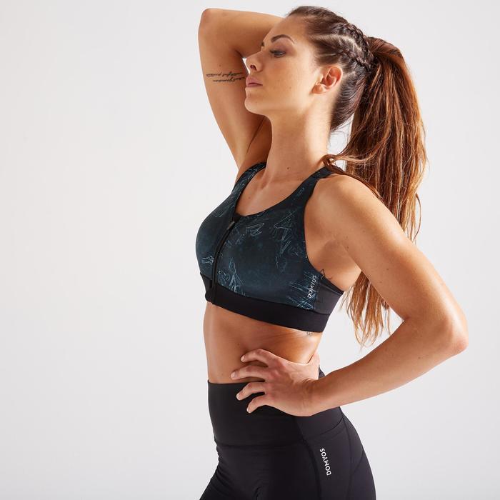 Sportbeha voor cardiofitness 900 rits groen met print