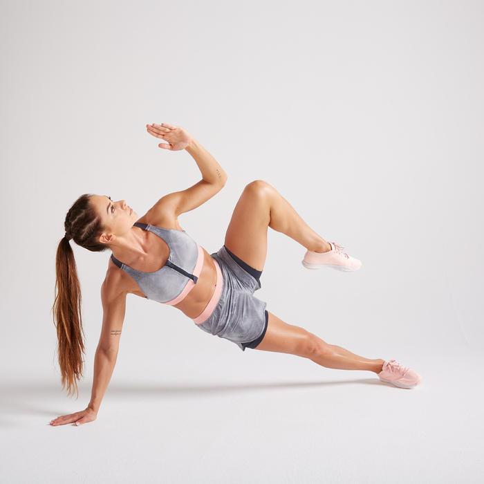 900 Women's Fitness Cardio Training Zip-Up Sports Bra - Grey Print