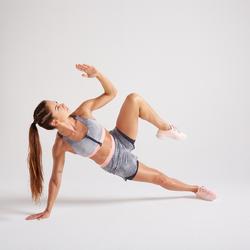 Brassière Zip fitness cardio training femme imprimée gris 900