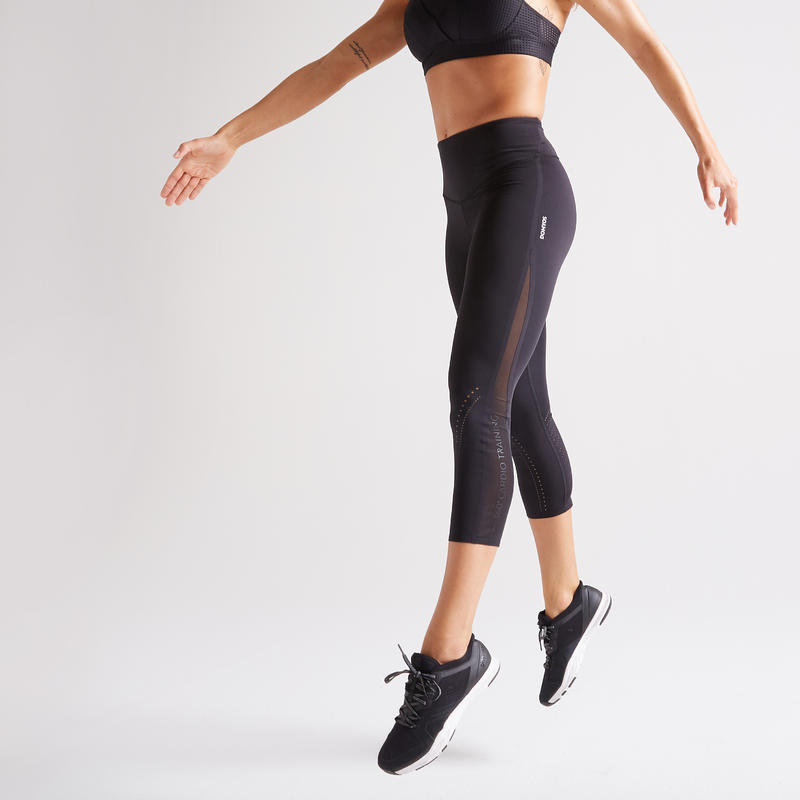 Women's 7/8 Anti-Chafing with Pocket Fitness Leggings - Black