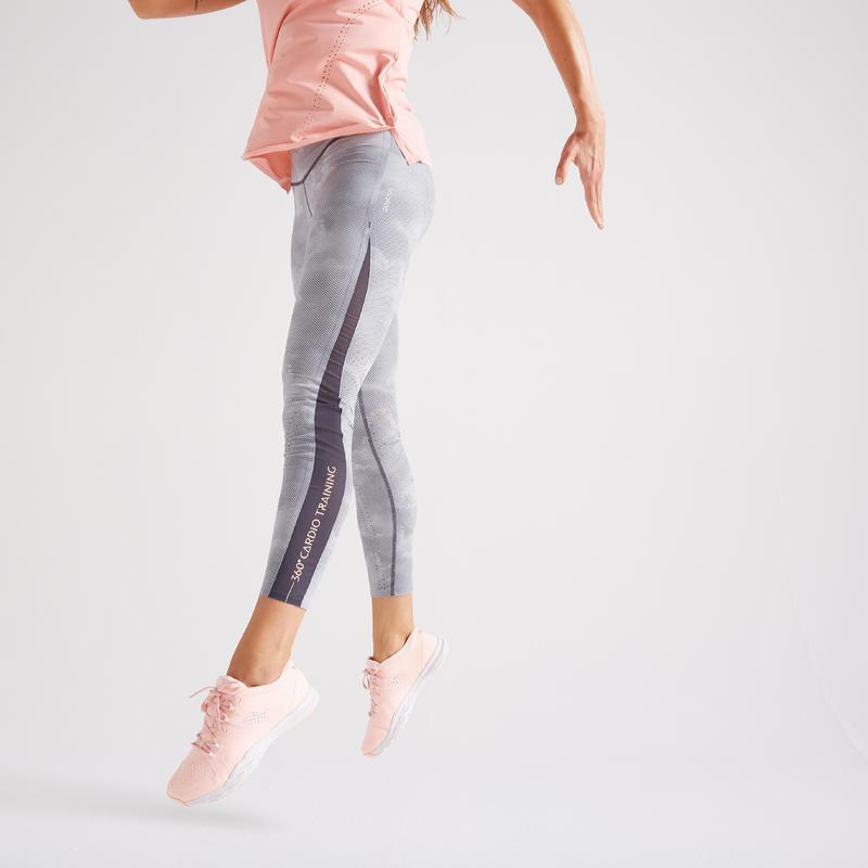 กางเกงเลกกิ้งผู้หญิงสำหรับใส่ออกกำลังกายแบบคาร์ดิโอรุ่น 900 (พิมพ์ลาย)