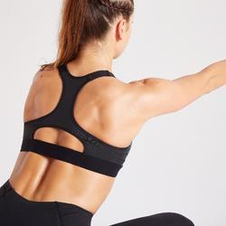 900 Women's Fitness Cardio Training Zip-Up Sports Bra - Green Print