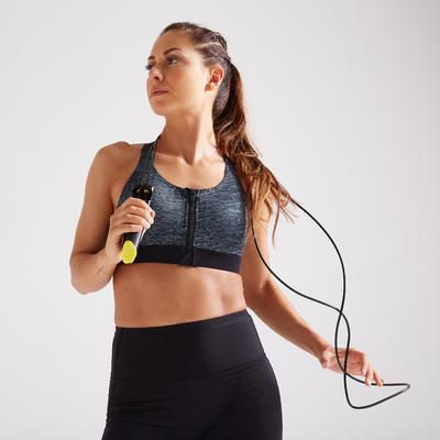 Sujetador Deportivo Top Fitness mujer alto Impacto Domyos 900 negro gris