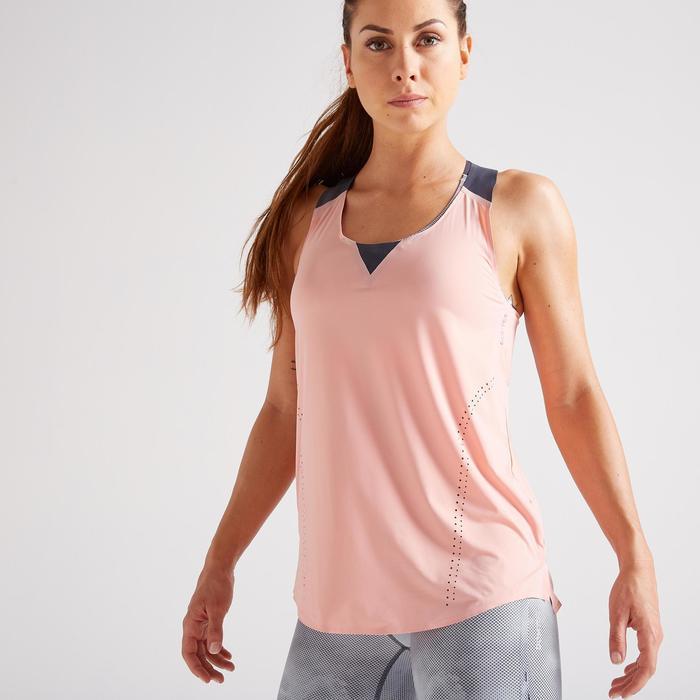 Débardeur fitness cardio training femme rose pâle 900