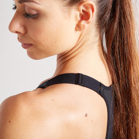 Women's Fitness Cardio Training Zip-Up Sports Bra 900 - Mottled Grey