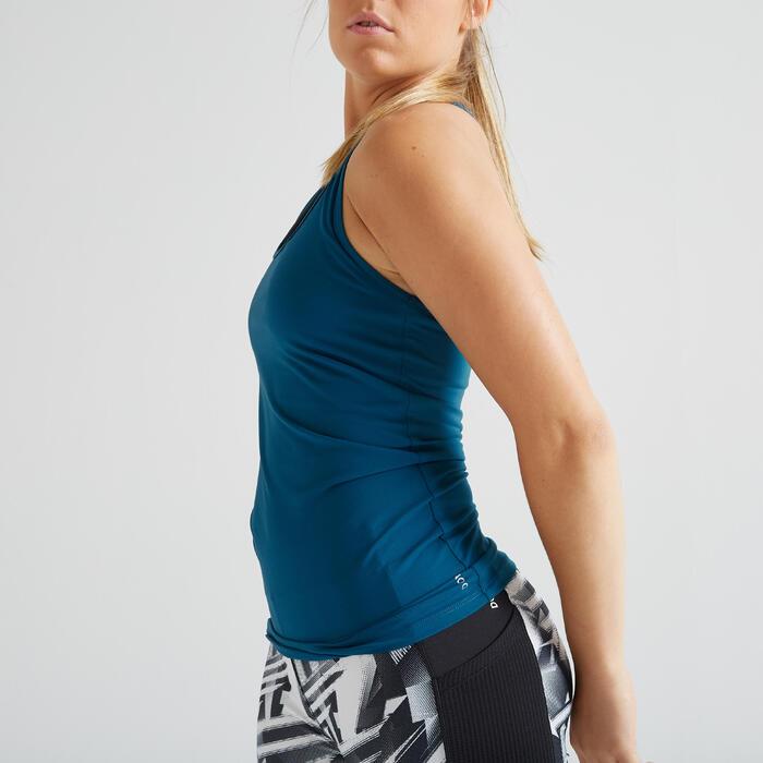 Fitness top 100 voor dames, blauw