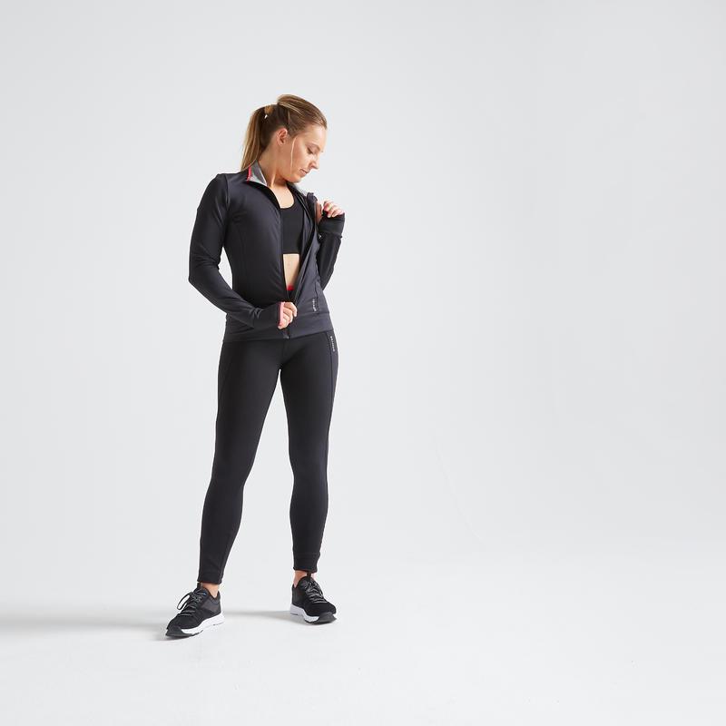 Veste entraînement cardio femme noire 100