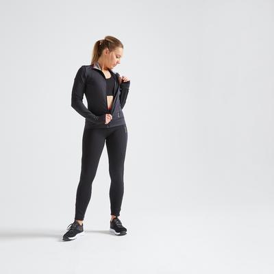 Veste fitness cardio training femme noire 100