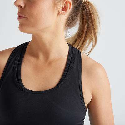 Camiseta manga sisa fitness cardio-training mujer negro 100