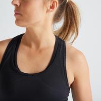 """Sieviešu fitnesa kardio treniņu bezpiedurkņu krekls """"100"""", melns"""