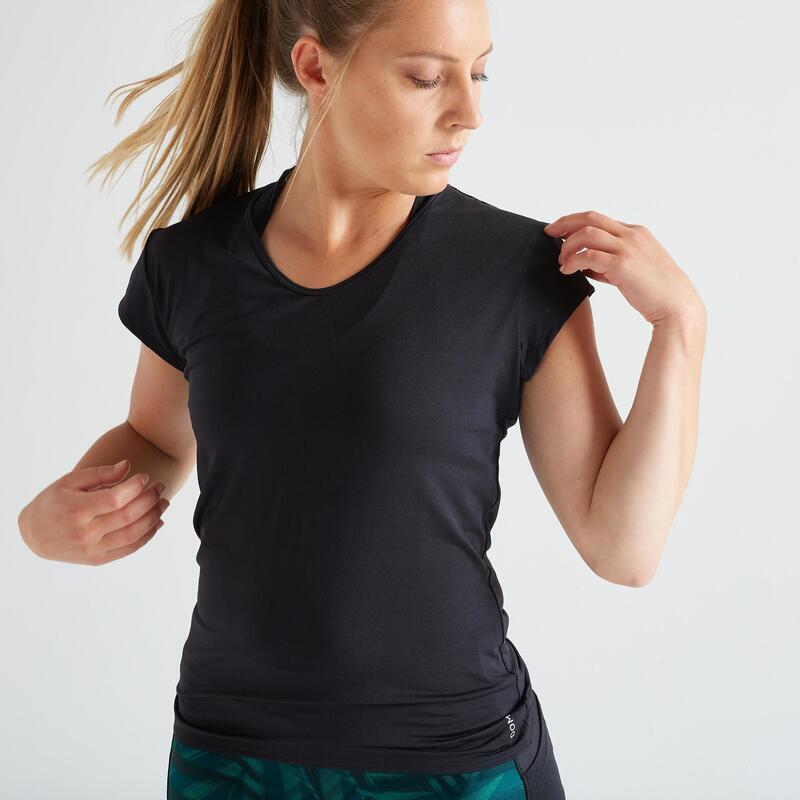 T-shirt voor cardiofitness dames slim fit zwart