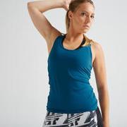 Women Polyester Basic Gym Tank Tops - Blue