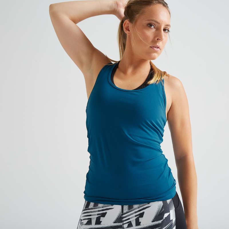 WOMAN FITNESS ENERGY APPAREL Clothing - My Top 100 Tank Top - Blue DOMYOS - Tops