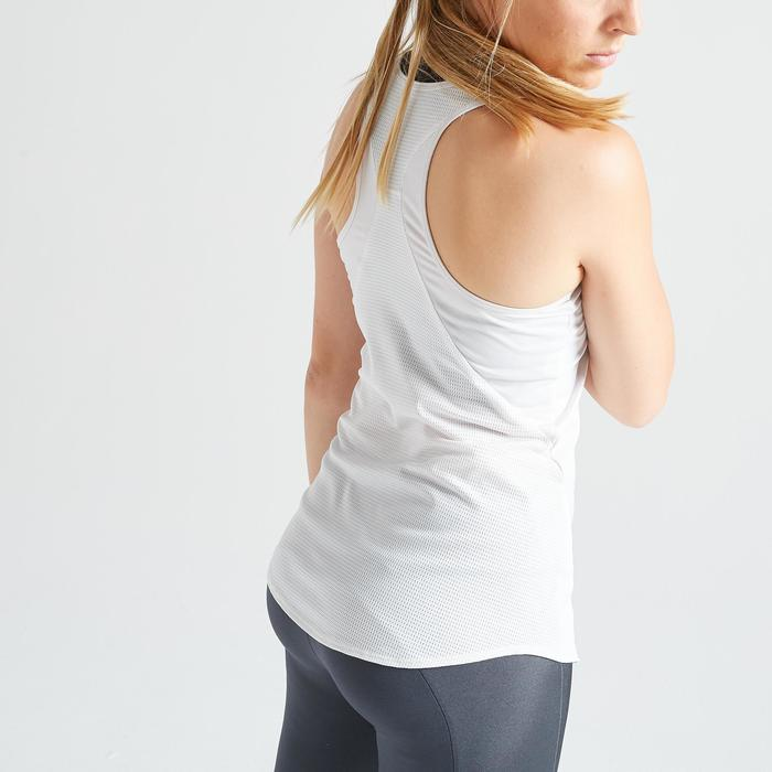 Débardeur fitness cardio training femme blanc 120