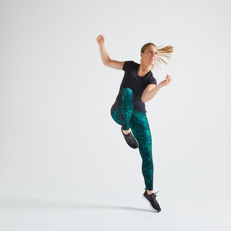 Playera de fitness cardio-training mujer negro 100