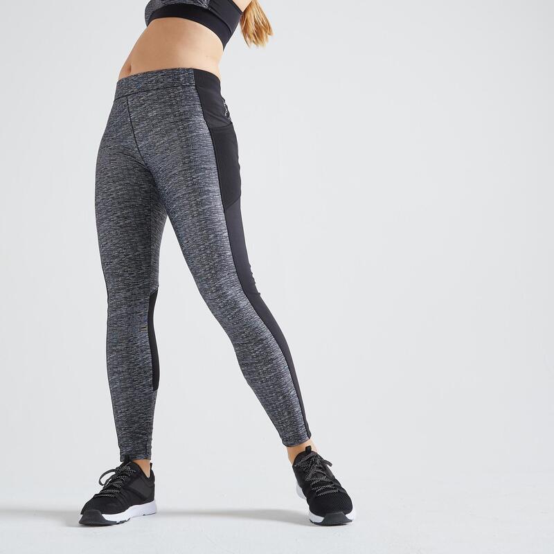 Legging voor fitness smartphonezakje gemêleerd grijs