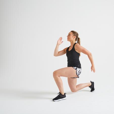 Playera sin mangas fitness cardio-training mujer negro 100