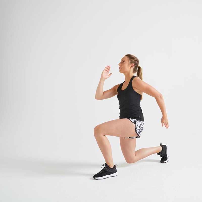 Débardeur fitness cardio training femme noir 100