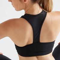 Brassière fitness cardio training femme noire 100