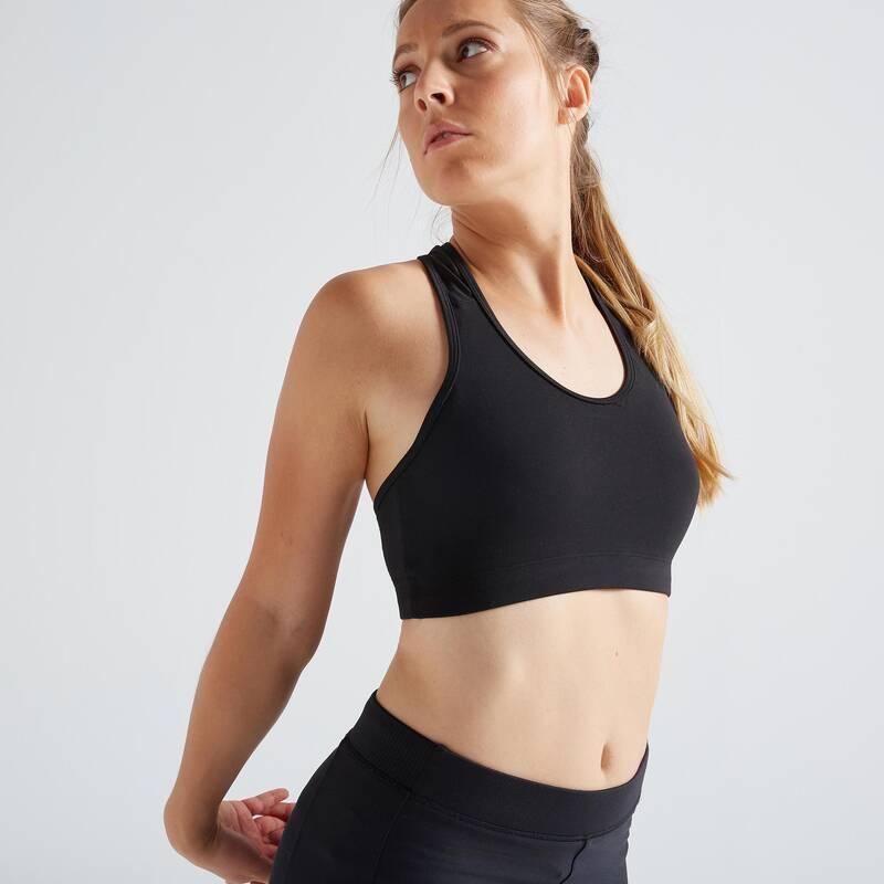 PODPRSENKY A DÁMSKÉ SPODNÍ PRÁDLO NA FITNESS Fitness - SPORTOVNÍ PODPRSENKA 100 ČERNÁ DOMYOS - Fitness oblečení a boty