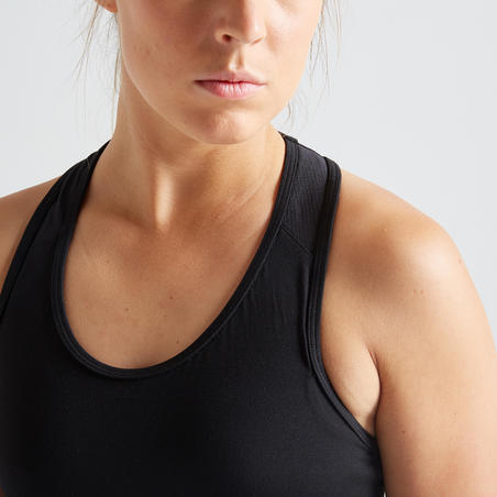 Sujetador Deportivo Top Fitness Mujer Domyos FBRA 100 negro