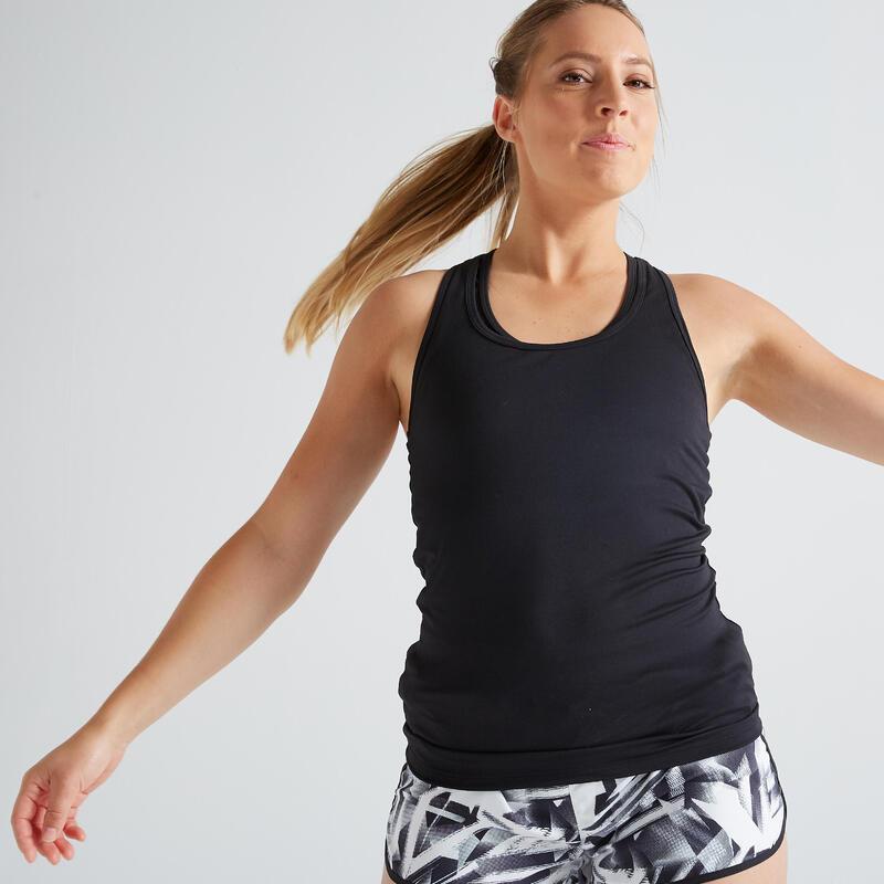 เสื้อกล้ามผู้หญิงสำหรับการออกกำลังกายแบบคาร์ดิโอรุ่น 100 (สีดำ)