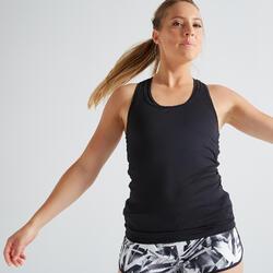 Camiseta Sin Mangas Fitness Cardio Domyos MyTop 100 mujer Negro